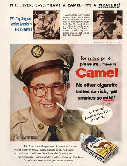 Camel Phil Silvers Cigarettes | Vintage Ad and Cover Art 1891-1970