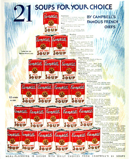 Campbells 21 Soups For Your Choice 1931 | Vintage Ad and Cover Art 1891-1970