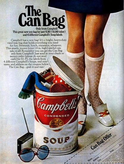 Campbells The Can Bag | Sex Appeal Vintage Ads and Covers 1891-1970