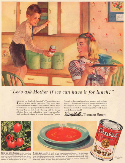 Campbells Tomato Soup Lets Ask Mother 1940 | Vintage Ad and Cover Art 1891-1970