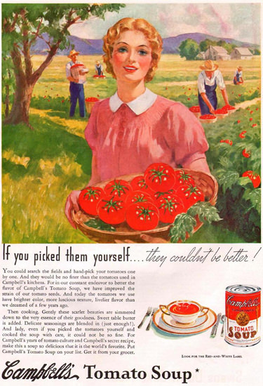 Campbells Tomato Soup Picking 1935 | Vintage Ad and Cover Art 1891-1970