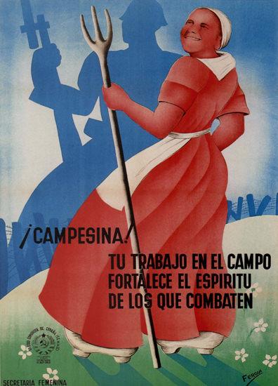 Campesina Tu Trabajo En El Campo Spain Espana | Vintage War Propaganda Posters 1891-1970