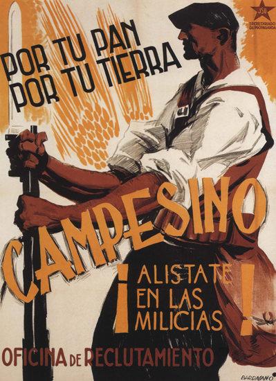 Campesino Alistate En Las Milicias Spain Espana   Vintage War Propaganda Posters 1891-1970