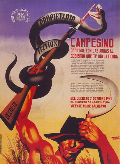 Campesino Defiende Con Armas Al Gobierno 1936 | Vintage War Propaganda Posters 1891-1970