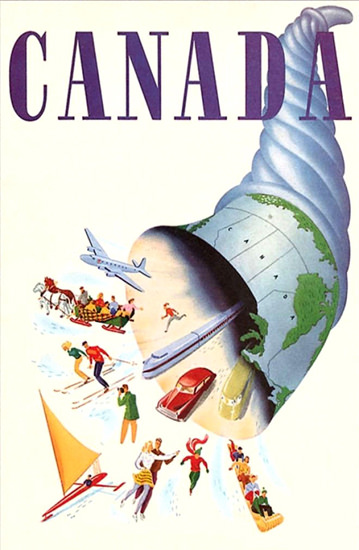 Canada 1940s Blue | Vintage Travel Posters 1891-1970