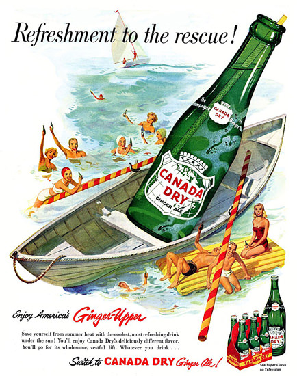 Canada Dry 1952 Bay Watch Beach Rescue | Vintage Ad and Cover Art 1891-1970