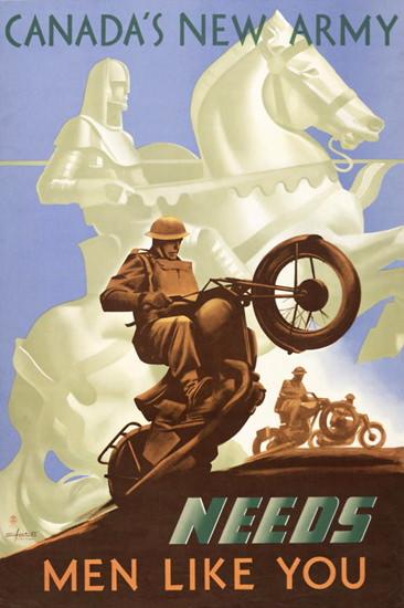 Canadas New Army Needs Men Like You | Vintage War Propaganda Posters 1891-1970