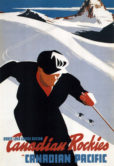 Canadian Pacific Banff Lake Louise Rockies Skiing | Vintage Travel Posters 1891-1970