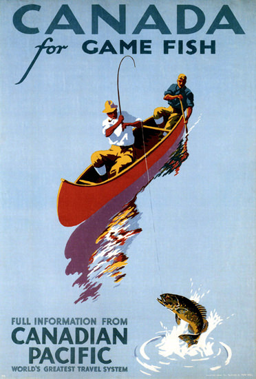 Canadian Pacific Canada Game Canoe Fishing | Vintage Travel Posters 1891-1970