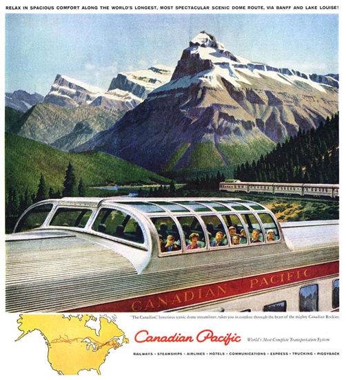 Canadian Pacific Canada Scenic Dome Train 1950 | Vintage Travel Posters 1891-1970