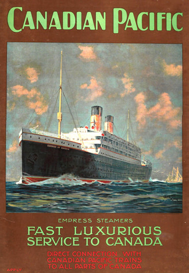Canadian Pacific Empress Luxurious Canada 1920 | Vintage Travel Posters 1891-1970