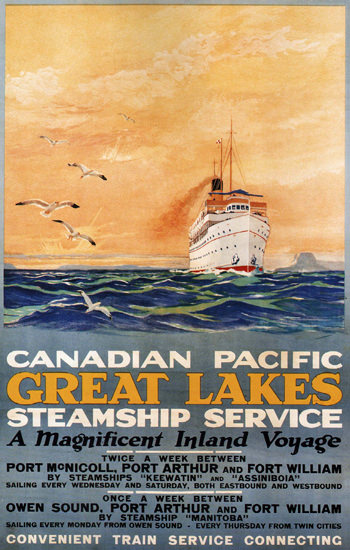Canadian Pacific Great Lakes Steamship Inland | Vintage Travel Posters 1891-1970