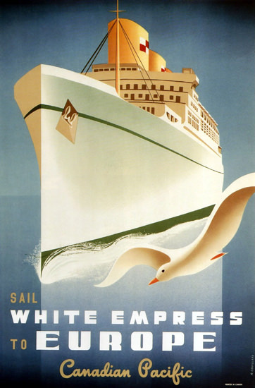 Canadian Pacific Sail White Empress Europe 1950 | Vintage Travel Posters 1891-1970