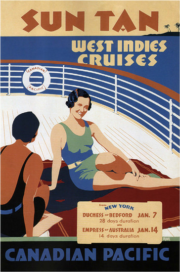 Canadian Pacific Sun Tan West Indies Cruises | Sex Appeal Vintage Ads and Covers 1891-1970