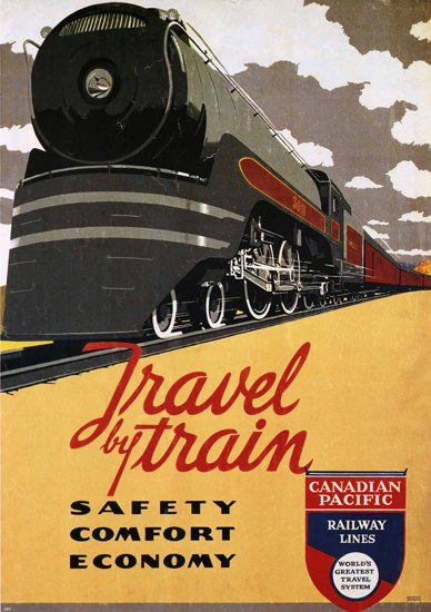 Canadian Pacific Travel By Train 1937 | Vintage Travel Posters 1891-1970