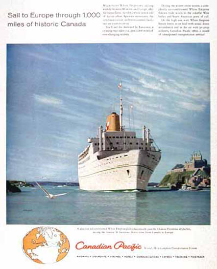 Canadian Pacific White Empress 1958 Sail Europe | Vintage Travel Posters 1891-1970