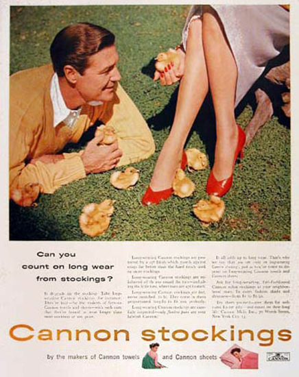 Cannon Nylon Stockings 1954 | Sex Appeal Vintage Ads and Covers 1891-1970