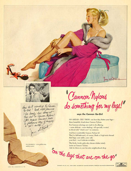 Cannon Nylons Pin Up Girl 1951 | Sex Appeal Vintage Ads and Covers 1891-1970
