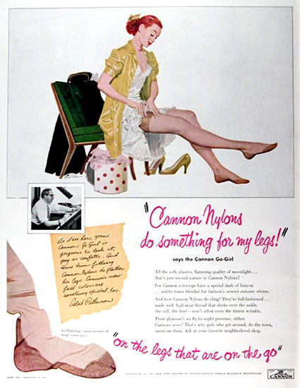 Cannon Nylons Stockings Lingerie | Sex Appeal Vintage Ads and Covers 1891-1970
