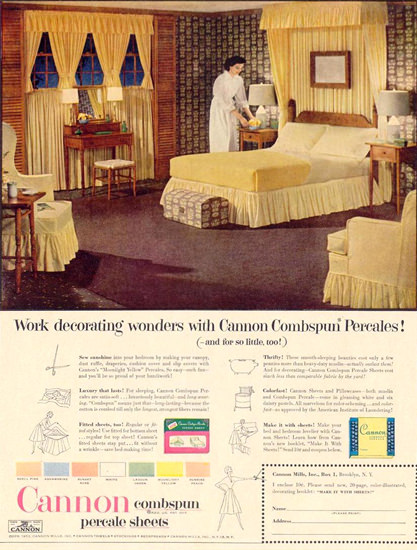 Cannon Percale Sheets 1952   Vintage Ad and Cover Art 1891-1970