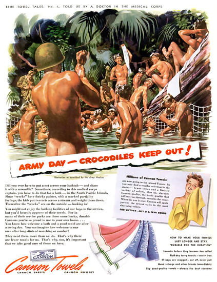 Cannon Towels Army Day Crocodiles Keep Out | Vintage War Propaganda Posters 1891-1970