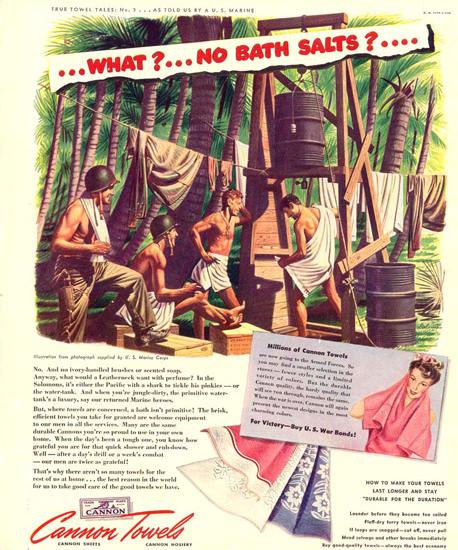 Cannon Towels No Bath Salts 1943   Vintage War Propaganda Posters 1891-1970