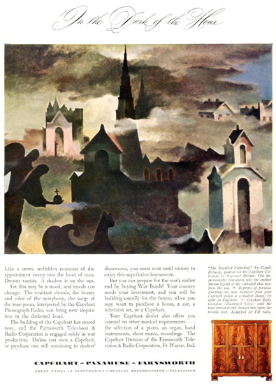 Capehart Panamuse Farnsworth Dark Hour 1942   Vintage War Propaganda Posters 1891-1970
