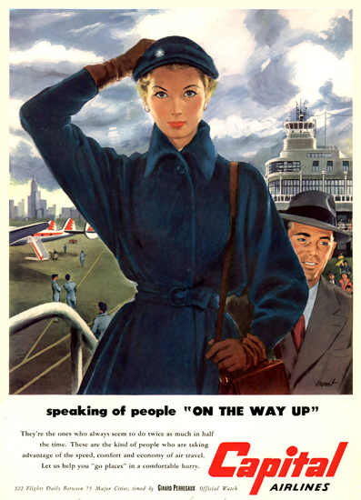 Capital Airlines Boarding People On The Way Up | Sex Appeal Vintage Ads and Covers 1891-1970