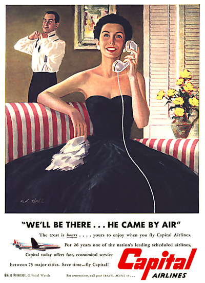 Capital Airlines Lady We Will Be There By Air | Sex Appeal Vintage Ads and Covers 1891-1970