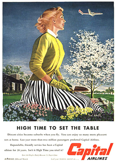 Capital Airlines Waiting Wife Set The Table | Sex Appeal Vintage Ads and Covers 1891-1970