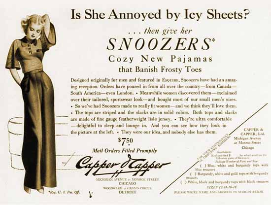 Capper Capper Snoozers Annoyed by Icy Sheets George Petty Sex Appeal | Sex Appeal Vintage Ads and Covers 1891-1970