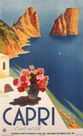 Capri L Isola Del Sole Island Of The Sun Italia | Vintage Travel Posters 1891-1970
