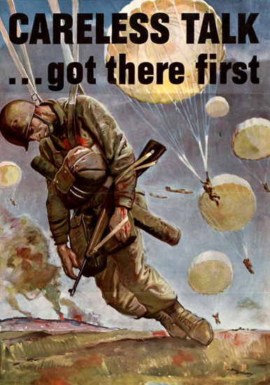 Careless Talk Got There First Dead Paratrooper | Vintage War Propaganda Posters 1891-1970