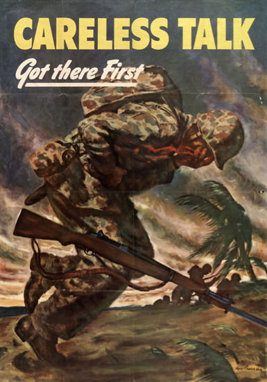 Careless Talk Got There First Hit Marine | Vintage War Propaganda Posters 1891-1970