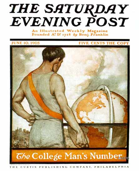 Carl A Strehlau Saturday Evening Post College Mans Number 1905_06_10 | The Saturday Evening Post Graphic Art Covers 1892-1930