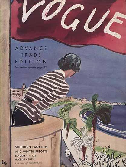 Carl Erickson Vogue Cover 1932-01-01 Copyright | Vogue Magazine Graphic Art Covers 1902-1958