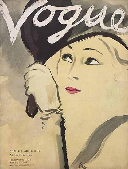 Carl Erickson Vogue Cover 1932-02-15 Copyright   Vogue Magazine Graphic Art Covers 1902-1958