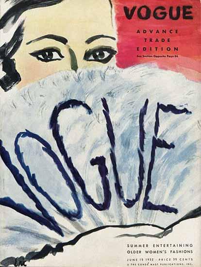 Carl Erickson Vogue Cover 1932-06-15 Copyright | Vogue Magazine Graphic Art Covers 1902-1958