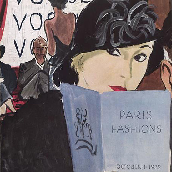 Carl Erickson Vogue Cover 1932-10-01 Copyright crop | Best of Vintage Cover Art 1900-1970