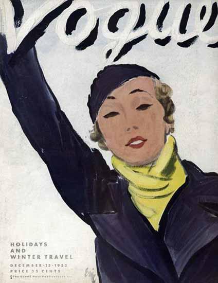 Carl Erickson Vogue Cover 1932-12-15 Copyright   Vogue Magazine Graphic Art Covers 1902-1958