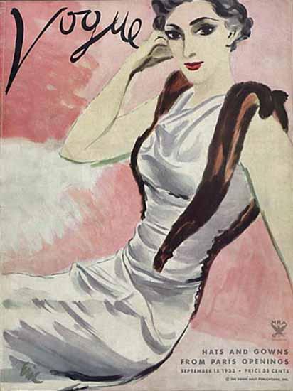 Carl Erickson Vogue Cover 1933-09-15 Copyright   Vogue Magazine Graphic Art Covers 1902-1958