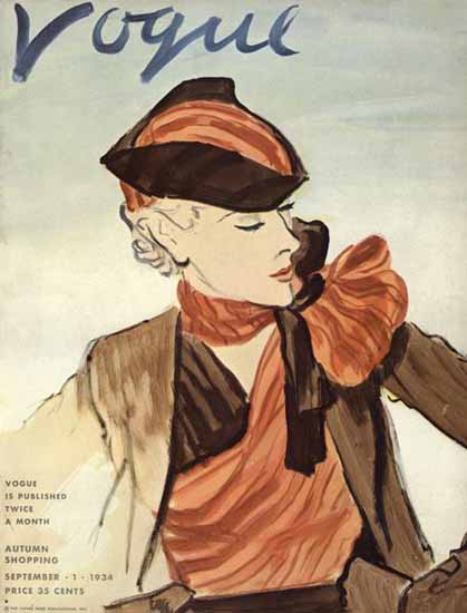 Carl Erickson Vogue Cover 1934-09-01 Copyright | Vogue Magazine Graphic Art Covers 1902-1958