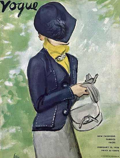 Carl Erickson Vogue Cover 1936-02-15 Copyright | Vogue Magazine Graphic Art Covers 1902-1958