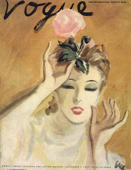 Carl Erickson Vogue Cover 1937-11-01 Copyright   Vogue Magazine Graphic Art Covers 1902-1958