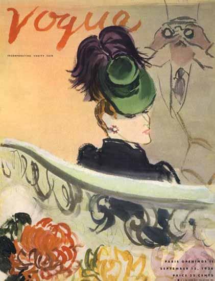 Carl Erickson Vogue Cover 1938-09-15 Copyright | Vogue Magazine Graphic Art Covers 1902-1958