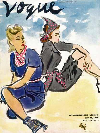 Carl Erickson Vogue Cover 1939-07-15 Copyright   Vogue Magazine Graphic Art Covers 1902-1958