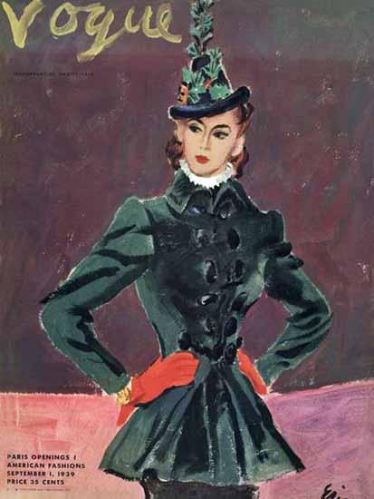 Carl Erickson Vogue Cover 1939-09-01 Copyright | Vogue Magazine Graphic Art Covers 1902-1958