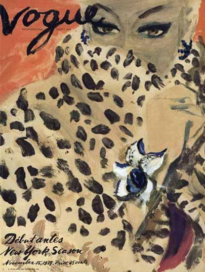 Carl Erickson Vogue Cover 1939-11-15 Copyright   Vogue Magazine Graphic Art Covers 1902-1958