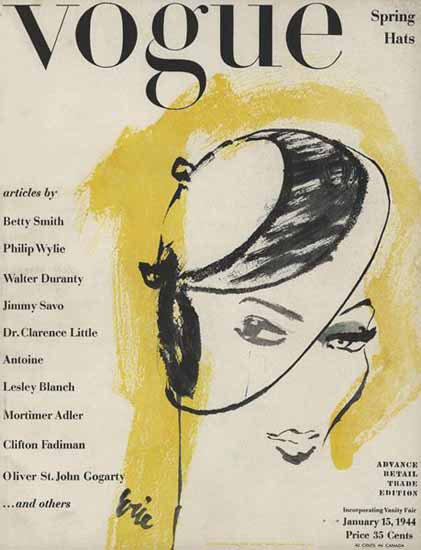 Carl Erickson Vogue Cover 1944-01-15 Copyright | Vogue Magazine Graphic Art Covers 1902-1958
