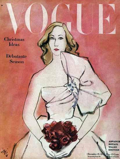 Carl Erickson Vogue Cover 1945-12-15 Copyright | Vogue Magazine Graphic Art Covers 1902-1958
